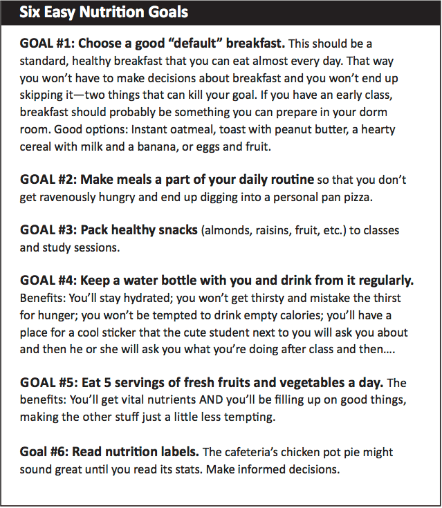 Six Easy Nutrition Goals